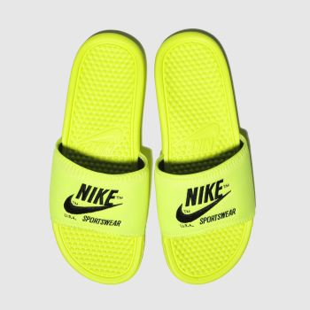 nike yellow benassi slide sandals