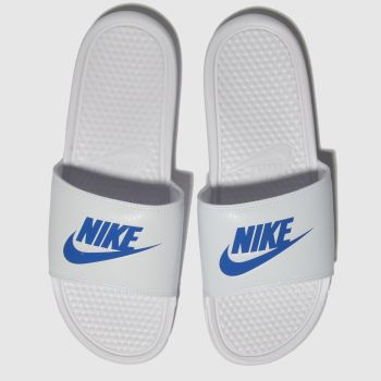 Nike White & Blue Benassi Slide Mens Sandals
