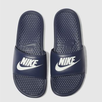 Nike Navy & White BENASSI SLIDE Sandals
