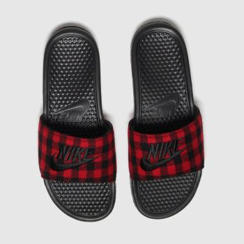 Nike Black & Red Benassi Slide Mens Sandals