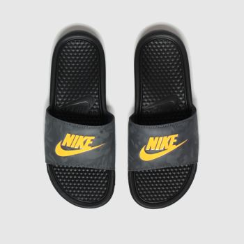 Nike Black & Orange Benassi Mens Sandals#