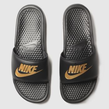 Nike Black & Gold Benassi Jdi Mens Sandals