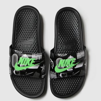 Nike Black & Green Benassi Jdi Mens Sandals