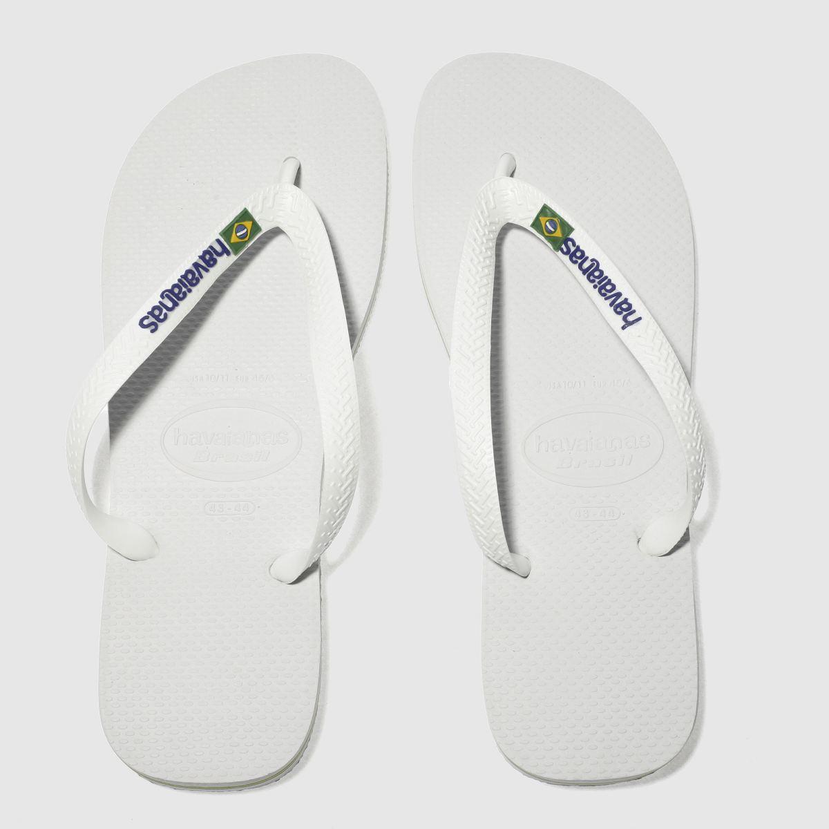 Havaianas White Brasil Logo Sandals