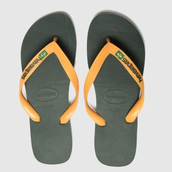 Havaianas Khaki Brasil Logo c2namevalue::Mens Sandals