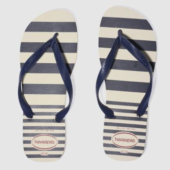 HAVAIANAS BEIGE & NAVY TOP RETRO SANDALS