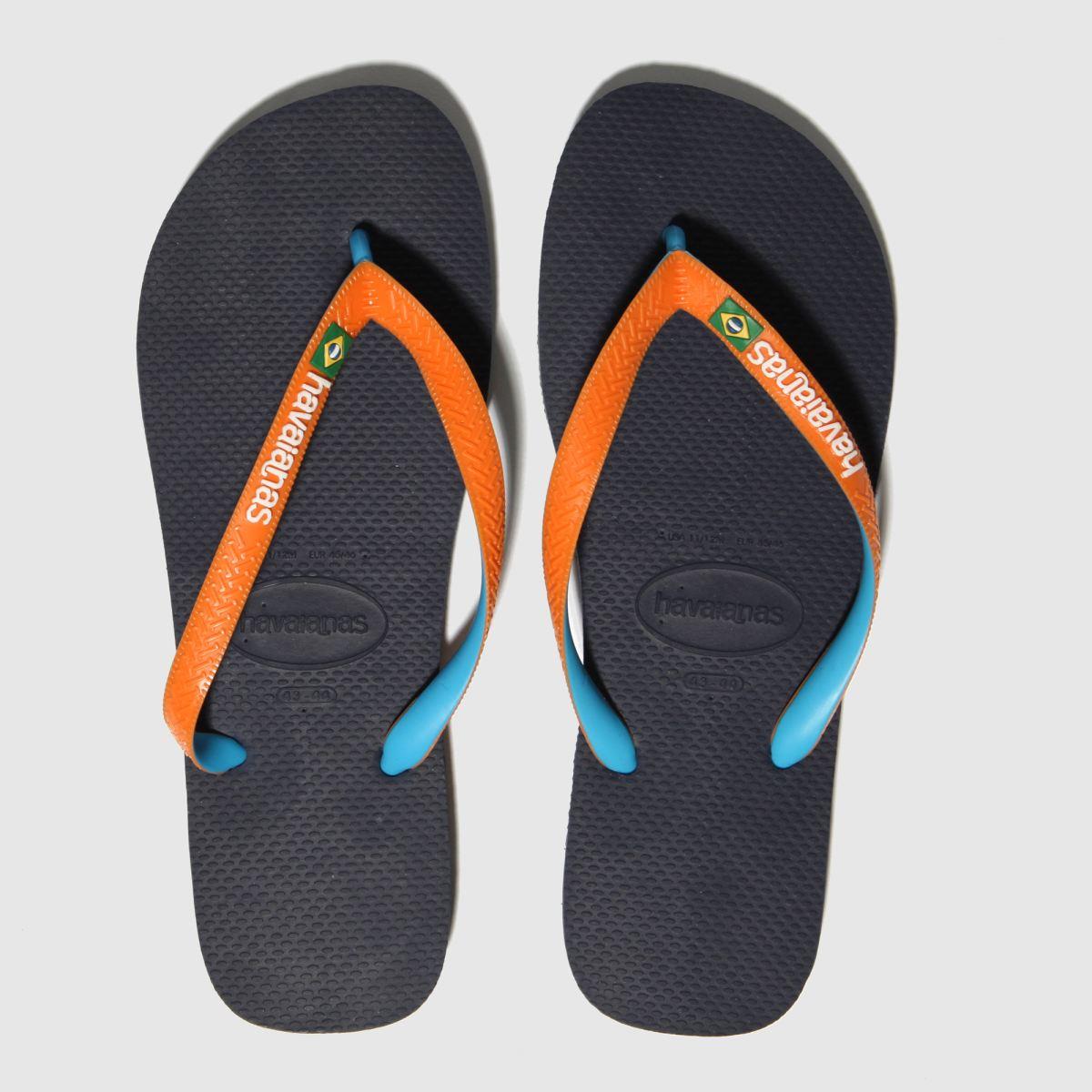 Havaianas Navy & Orange Brasil Mix Sandals