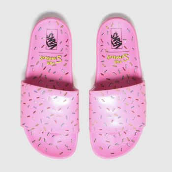Vans White & Pink Slideon The Simpsons Mens Sandals#
