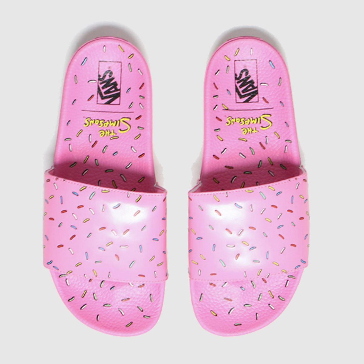 VANS White & Pink Slideon The Simpsons Sandals