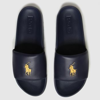 Polo Ralph Lauren Navy & Gold Cayson Mens Sandals#