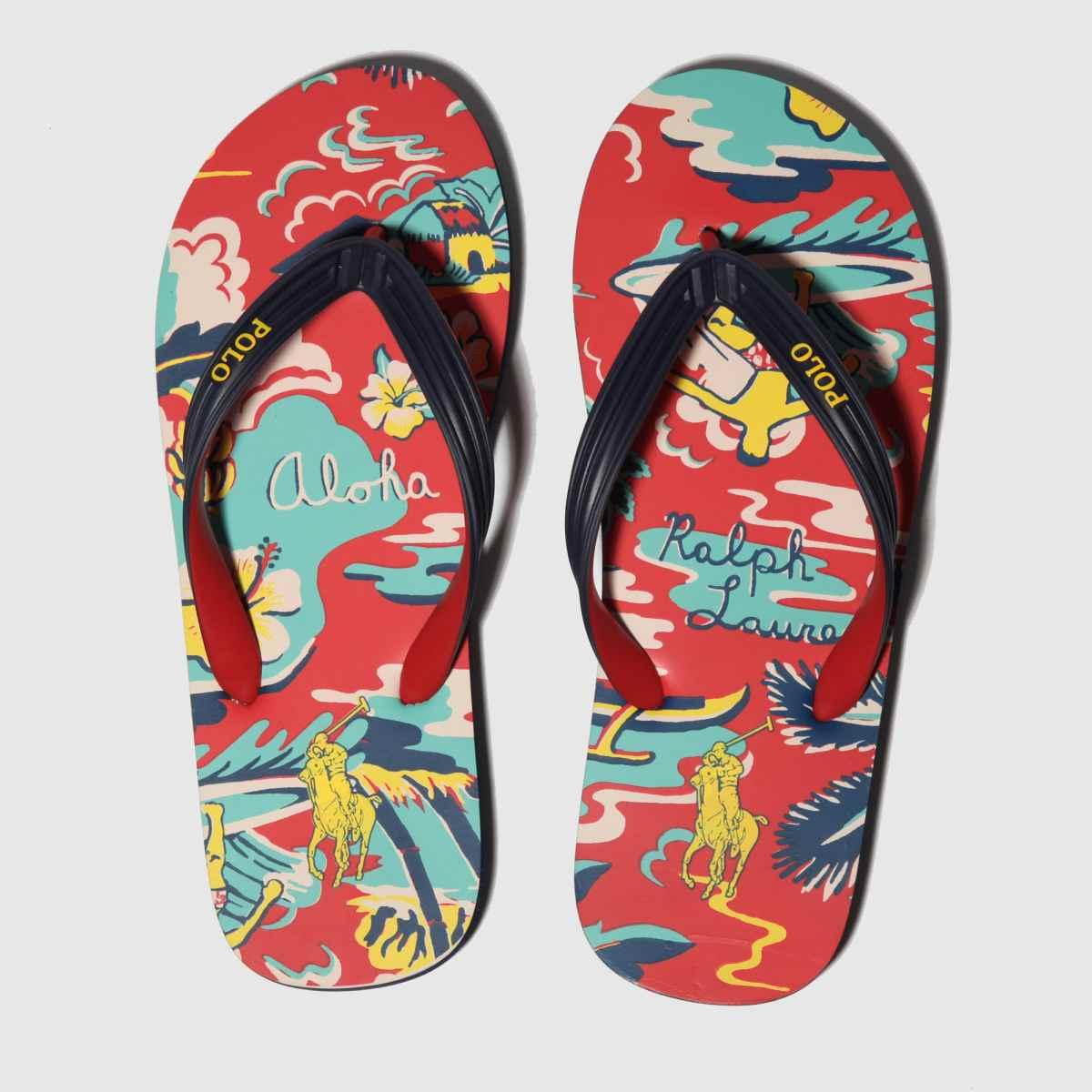 Polo Ralph Lauren Red & Navy Whtlbury Iii Sandals
