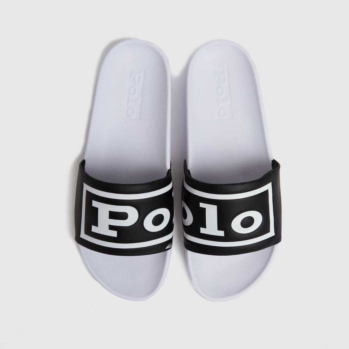 Polo Ralph Lauren White & Black Cayson Slide Sandals