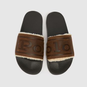 Polo Ralph Lauren Brown Cayson Slide Shearling Mens Sandals
