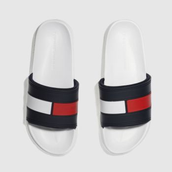 Tommy Hilfiger White & Navy Flag Pool Slide Mens Sandals