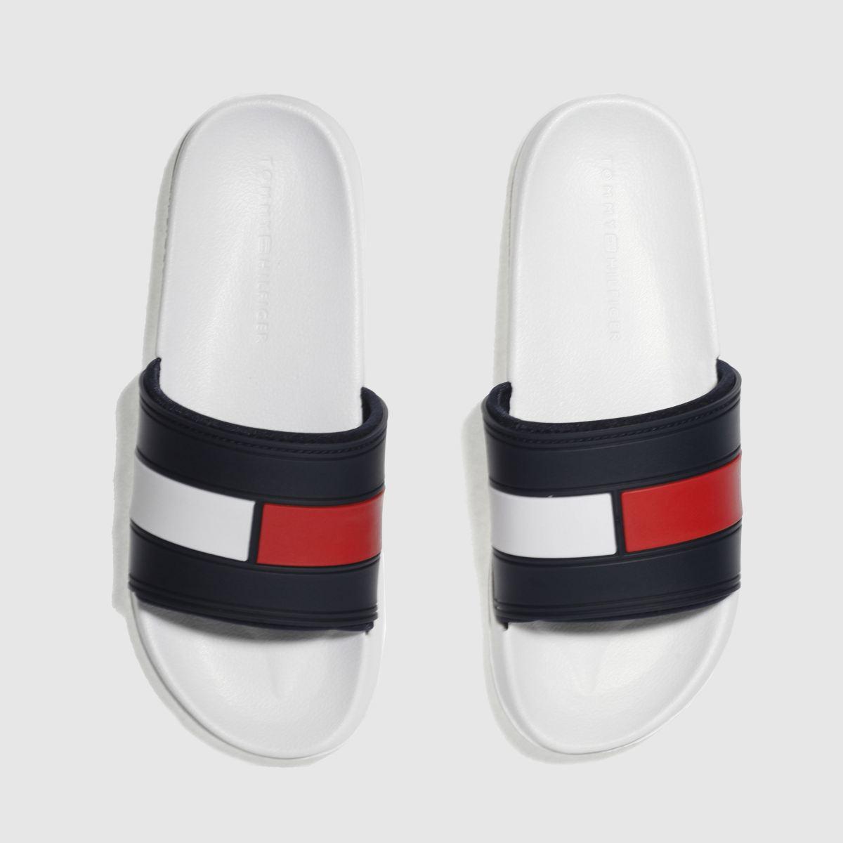 Tommy Hilfiger White & Navy Flag Pool Slide Sandals