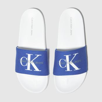 Calvin Klein White & Blue Viggo c2namevalue::Mens Sandals