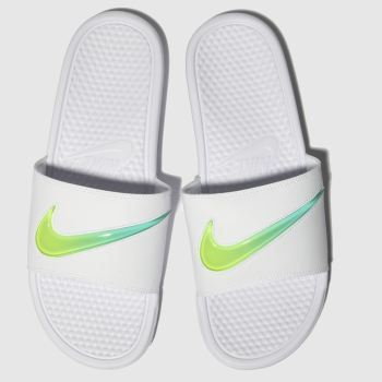 Nike White & Green Benassi Slide Sandals