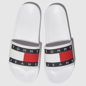 Tommy Hilfiger White & Navy Tj Flag Pool Slide c2namevalue::Mens Sandals