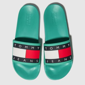 tommy hilfiger green tj flag pool slide sandals