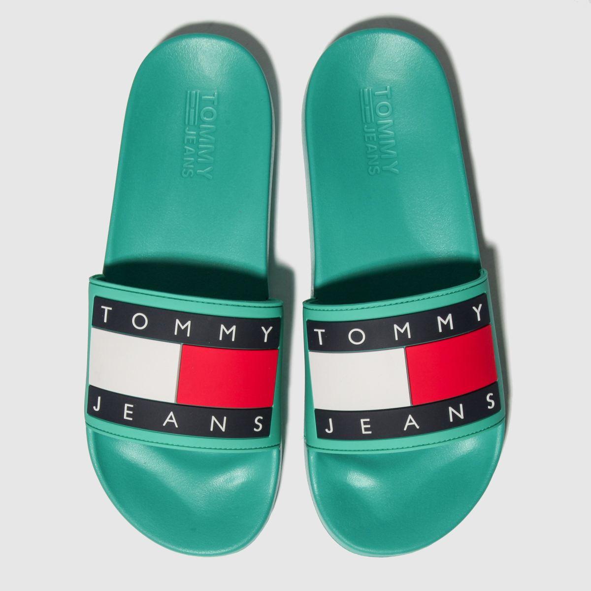 Tommy Hilfiger Green Tj Flag Pool Slide Sandals