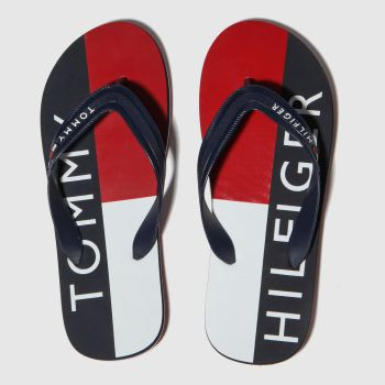 Tommy Hilfiger Navy & Red Printed Beach Sandal Mens Sandals