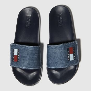 Tommy Hilfiger Blue Tj Denim Pool Slide Mens Sandals