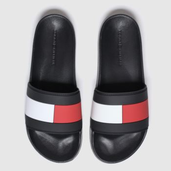 Tommy Hilfiger Black Essential Flag Pool Slide c2namevalue::Mens Sandals