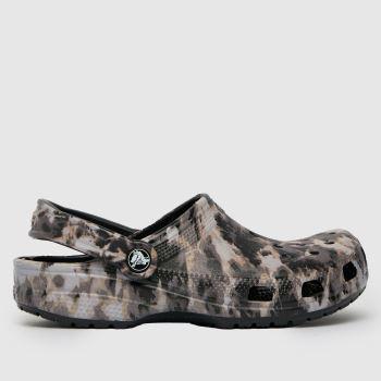 crocs Black & White Beach Dye Clog Mens Sandals