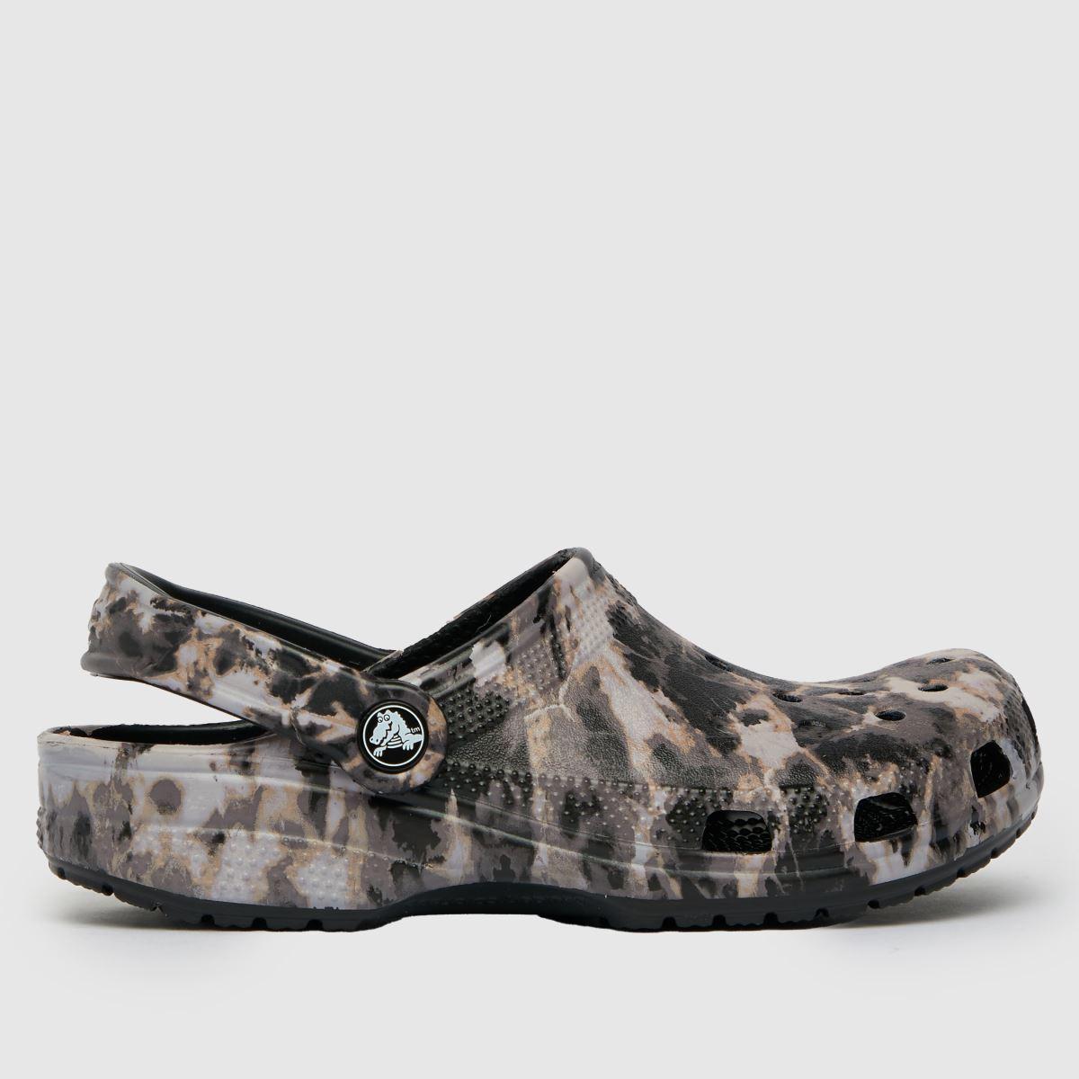 Crocs Black & White Beach Dye Clog Sandals