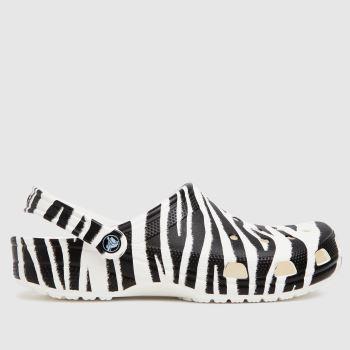 crocs Black & White Classic Clog Animal Mens Sandals