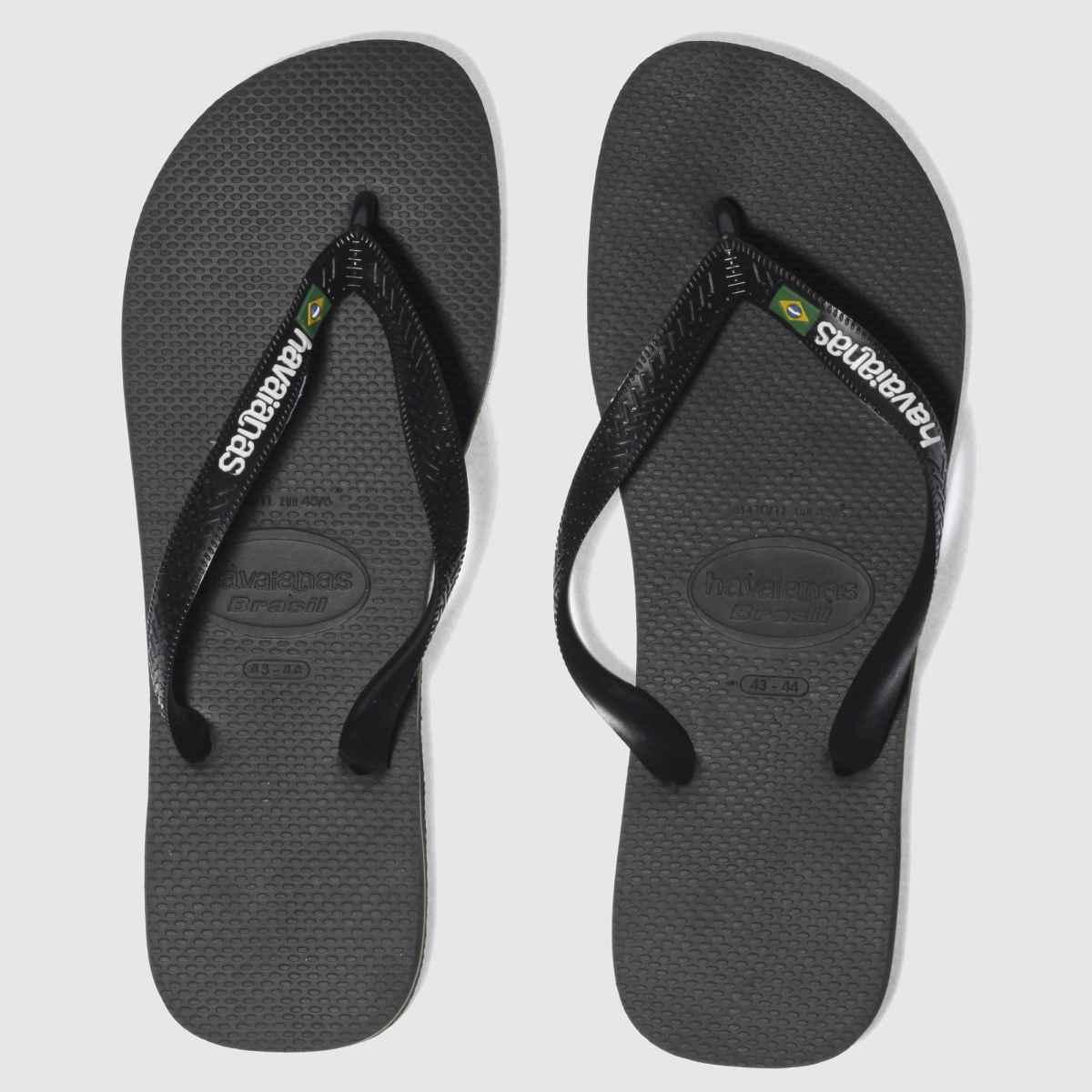 Havaianas Black Brasil Logo Sandals