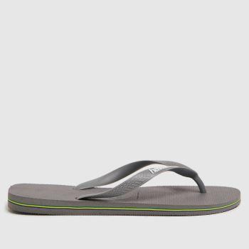 Havaianas Grey Brasil Logo Mens Sandals