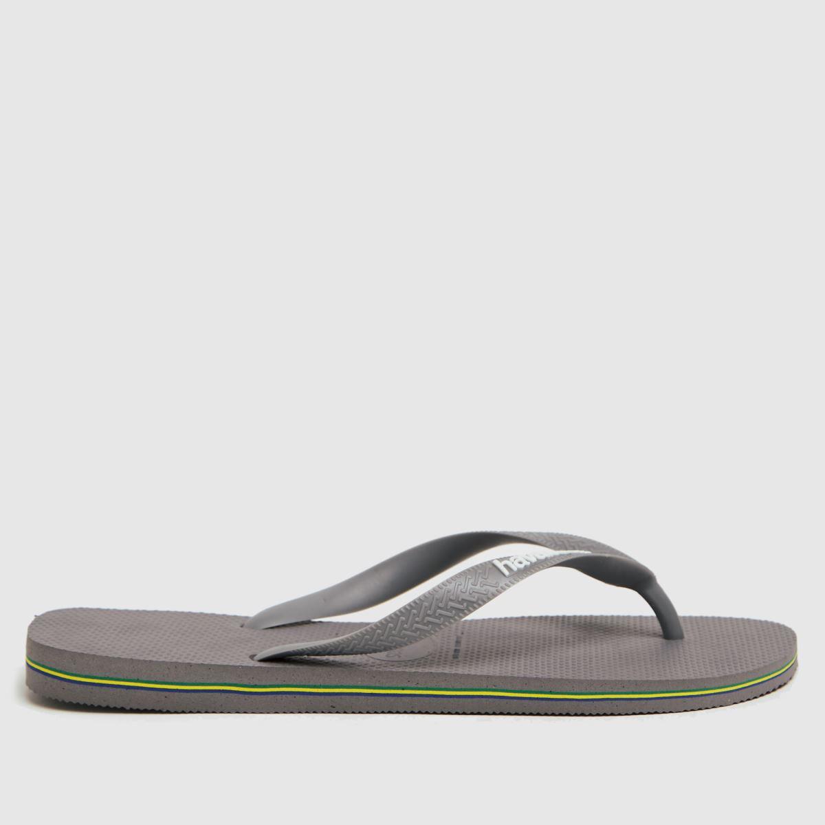 Havaianas Grey Brasil Logo Sandals
