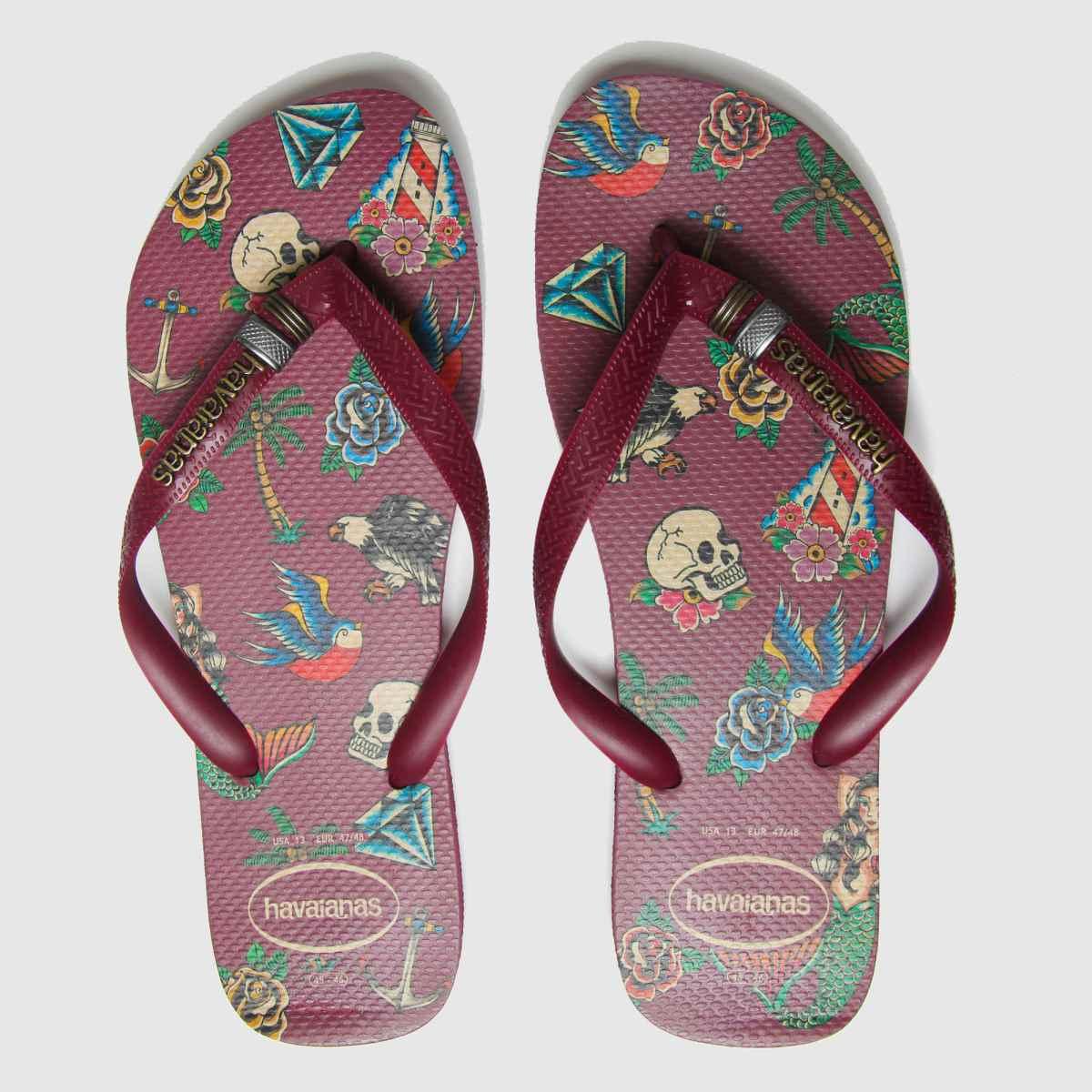 Havaianas Burgundy Top Tribo Sandals