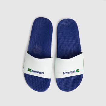 Havaianas White & Blue Slide Brasil Mens Sandals