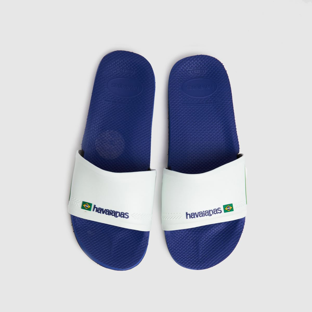 Havaianas White & Blue Slide Brasil Sandals