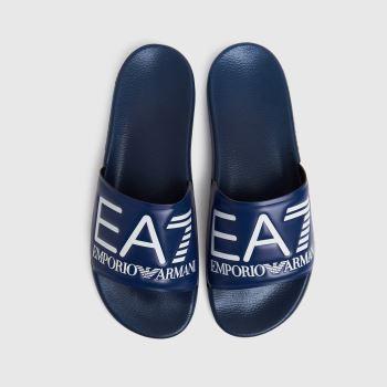 Ea7 Emporio Armani Blue Sea World Visibility Slide Mens Sandals