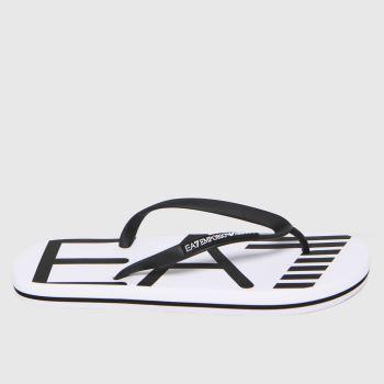 Ea7 Emporio Armani White & Black Sea World Logo Flip Flop Mens Sandals