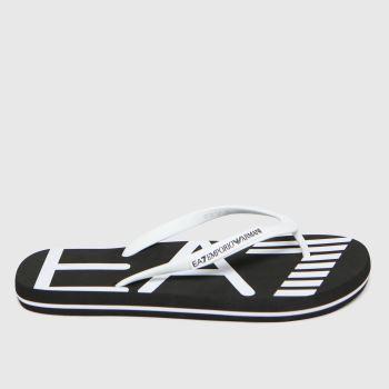 EA7 Emporio Armani Black & White Sea World Logo Flip Flop Mens Sandals