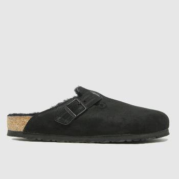 BIRKENSTOCK Black Boston Shearling Mens Sandals