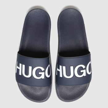HUGO Navy & White Match Slide Logo Mens Sandals