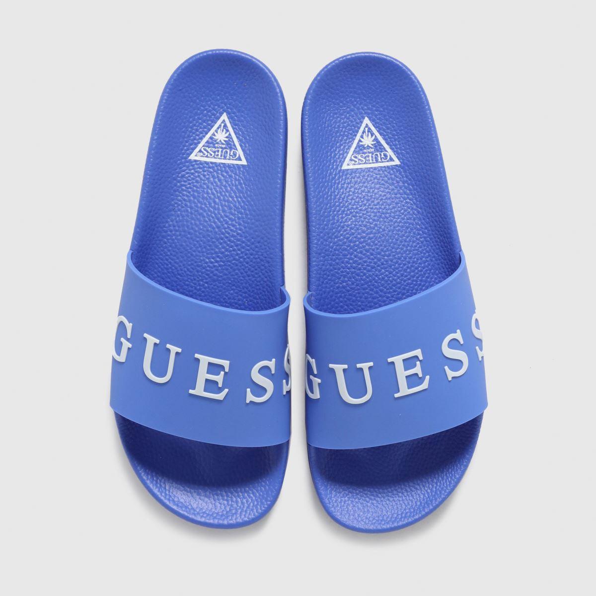 GUESS Blue Logo Slide Sandals