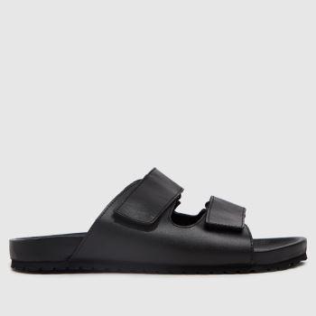 schuh Black Theo Minimal Footbed Mens Sandals