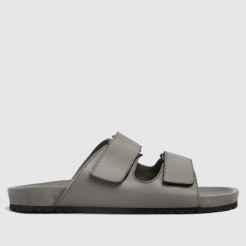 schuh Grey Theo Minimal Footbed Mens Sandals