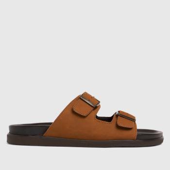 schuh Tan Slade Nubuck Footbed Mens Sandals