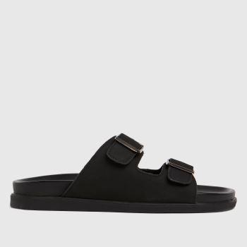 schuh Black Slade Nubuck Footbed Mens Sandals