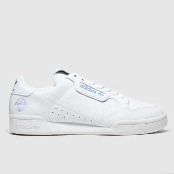 Adidas White & Pl Blue Continental 80 Wfq Trainers