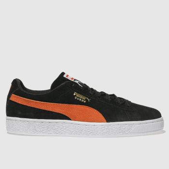 Puma Black & Orange SUEDE CLASSIC Trainers