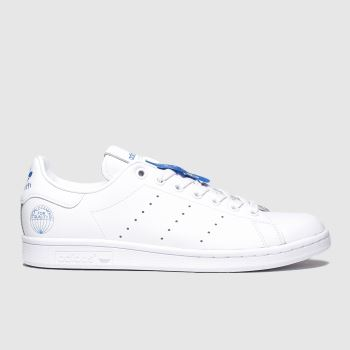 Adidas White & Pl Blue Stan Smith Wfq Mens Trainers
