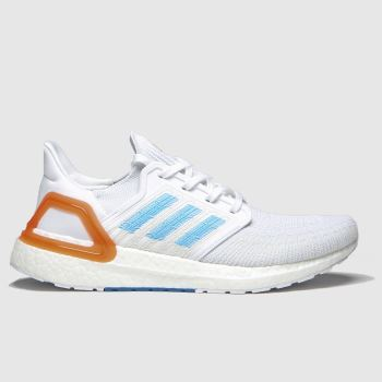 adidas White & Pl Blue Ultraboost 20 Prime Mens Trainers